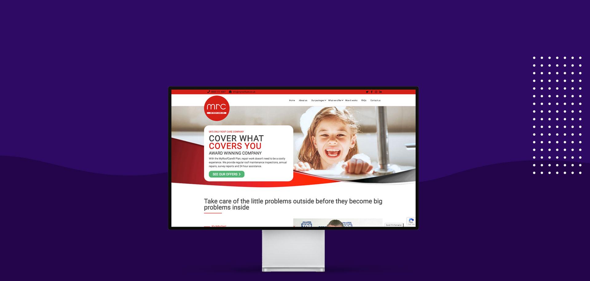 MyRoofCare website example display