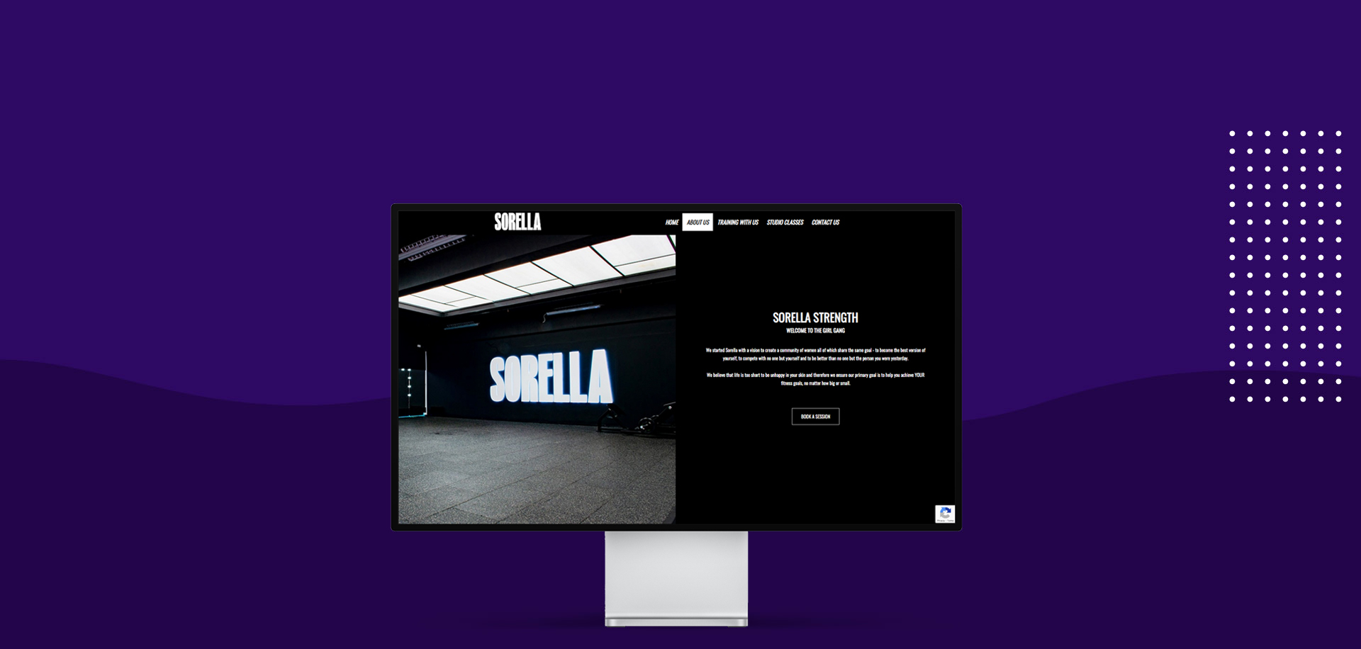 Apple display with mount showing Sorella Strength studio website design